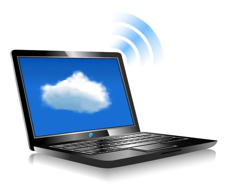 Laptop Cloud Connection wifi digital Stock Vector - 17272214