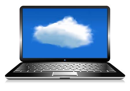 hub computer: Laptop Cloud Connection wifi digital Illustration