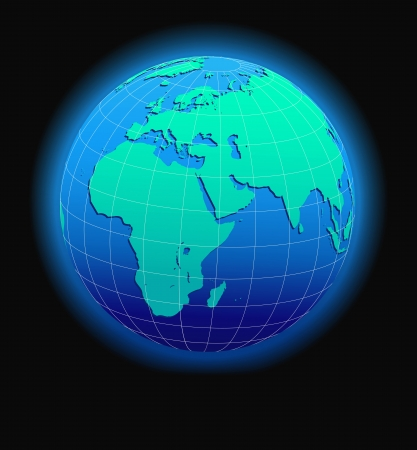 Africa, Arabia and India Global World in Space - Map Icon of the world in Globe form Vector