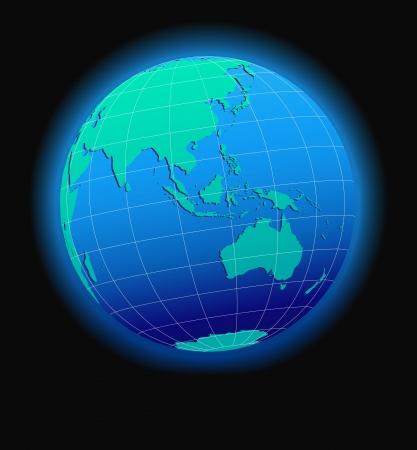アジア、オーストラリア、世界スペース - グローブ形で世界の地図アイコン