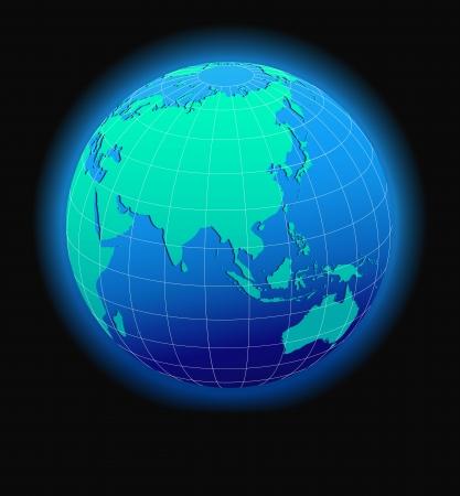 pacífico: China e Ásia, World global no espaço - Mapa do ícone do mundo em forma de globo