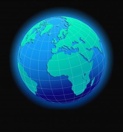 czech switzerland: Europa e Africa, mondo globale in Space - Icona Mappa del mondo in forma Globe Vettoriali