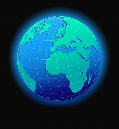 eec: Europe and Africa, Global World in Space - Map Icon of the world in Globe form Illustration