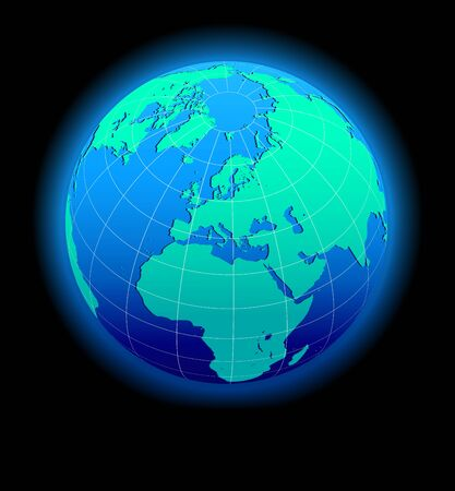 Europe Global World in Space - Map Icon of the world in Globe form Vector