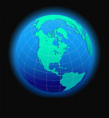 North, South America, Europe, Africa Global World in Space - Map Icon of the world in Globe form Stock Vector - 17381161