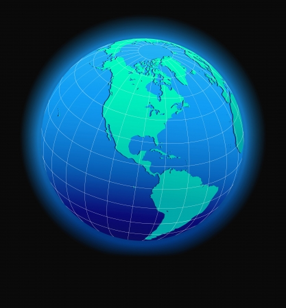 North and South America Global World in Space - Map Icon of the world in Globe form Stock Vector - 17381168