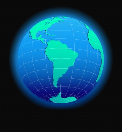 South America Global World in Space - Map Icon of the world in Globe form Vector