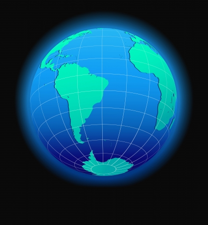 republic of ecuador: South America and Africa Global World in Space - Map Icon of the world in Globe form