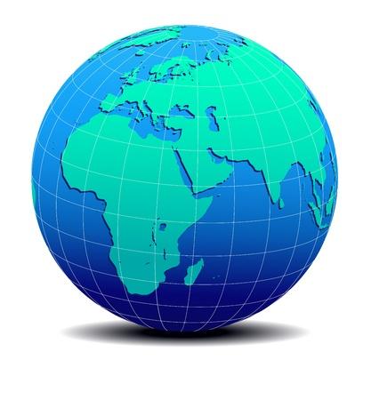 ethiopia: Africa, Arabia and India Global World  Map Illustration