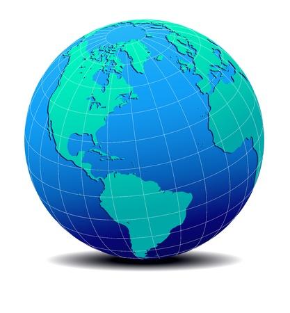 北、南アメリカ、ヨーロッパ、アフリカ地図