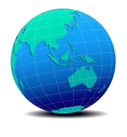 Asia and Australia, Global World  Map Illustration