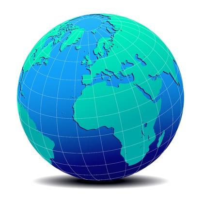 ヨーロッパ、アフリカ、グローバル化した世界地図