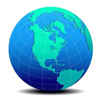 北と南アメリカの世界地図  イラスト・ベクター素材