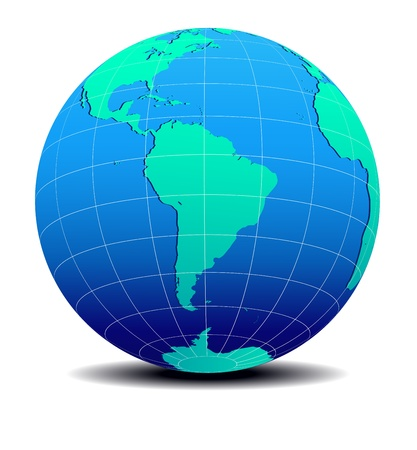 South America Global World Map Vector