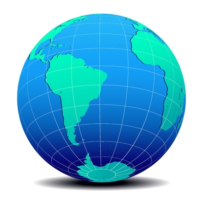 South America and Africa Global World Map Vector
