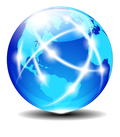 North, South America, Europe, Africa Global Communication Planet 일러스트
