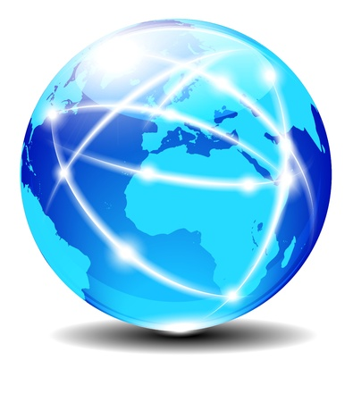 eec: Europe and Africa, Global Communication Planet with light lines Illustration