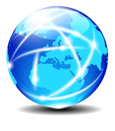 ebusiness: Europe Global Communication Planet with light lines