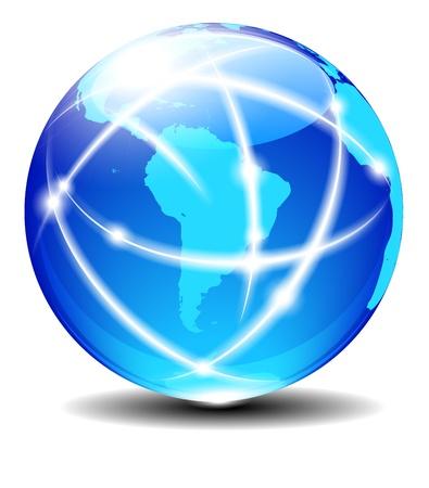 Sur América Latina Planet comunicación global con líneas de luz Ilustración de vector