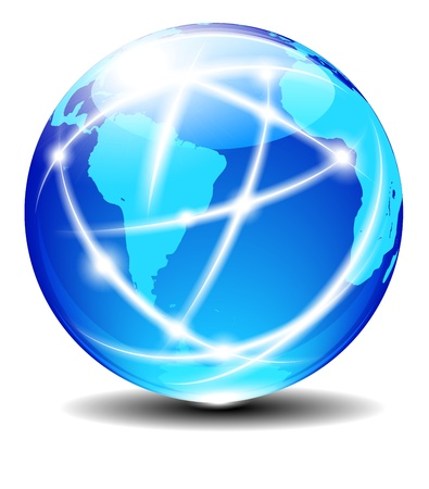 South Latin America and Africa Global Communication Planet Vector