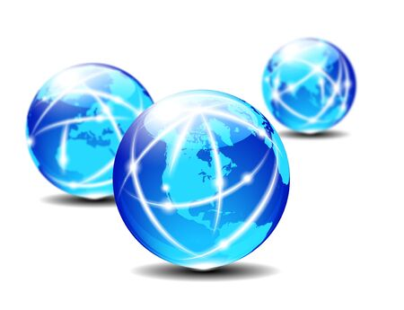 Global Communication Planet - Three Globes with lightlines of communication Stock Photo - 17690717