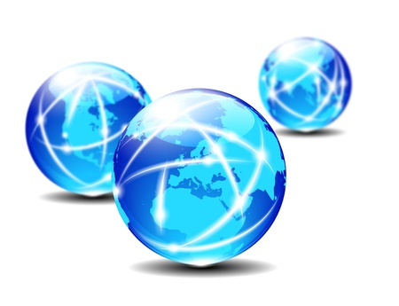 eec: Europe Global Communication Planet - Three Globes with lightlines of communication Stock Photo