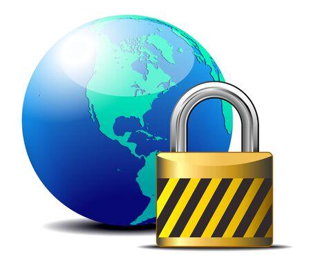parental control: Secure Internet lock - internet surfing protection - America Illustration