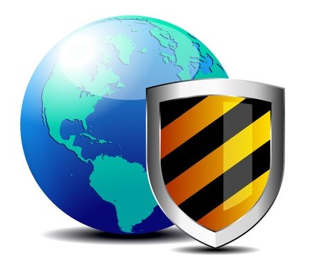 hacked: Shield with world depicting internet security - Safety America