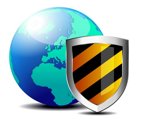 hacked: Shield with world depicting internet security - Safety Europe Illustration