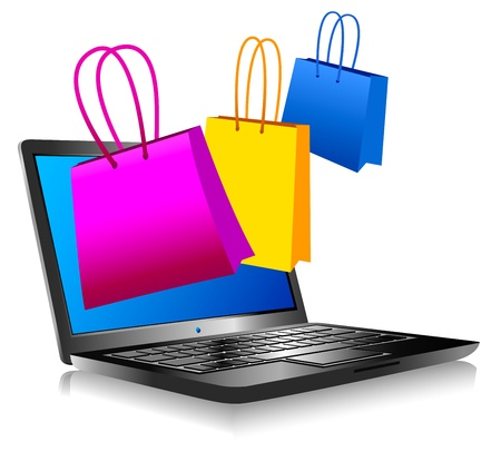 shopping cart online shop: Shopping on the Internet - Concept icon computer shopping on the web