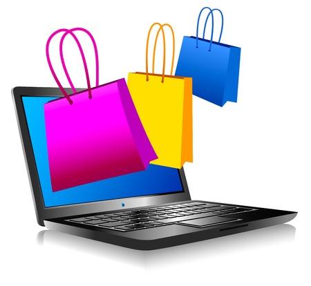 Winkelen op het internet - Concept pictogram computer winkelen op het web Vector Illustratie