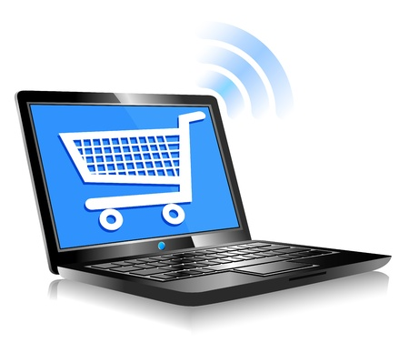 Shopping on the Internet - Concept icon computer shopping on the web Stock Vector - 18430289