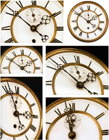 numeros romanos: Old Clock Face seis vistas - cara de reloj con n�meros romanos Foto de archivo