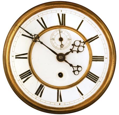 ビンテージのビクトリア朝の古い時計はローマ数字の顔