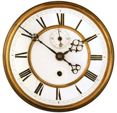 vintage clock: Vintage Victorian Old Clock Face with Roman Numerals Stock Photo