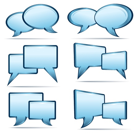 Silver Blue 3D and 2D speech bubbles Vector