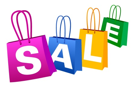 shopping trolley: SALE Banner with Shopping Bags  Illustration