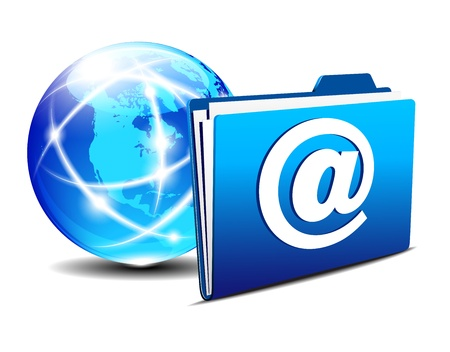hub: email folder and communication Internet World America Illustration
