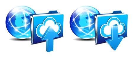 Upload Download folder and communication Internet World  Stock Vector - 19796256