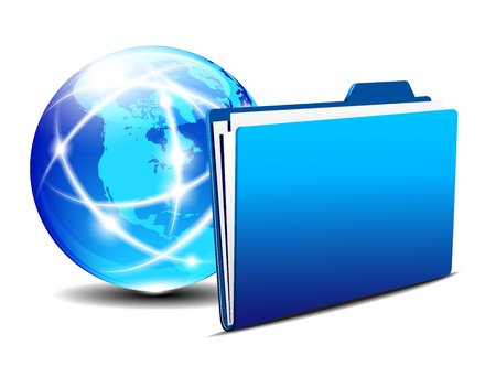 hub: Network concept, Communication Internet Globe and folder Illustration