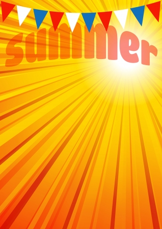 zomertuin: Zomer Achtergrond, Brochure, Flyer, Poster Stock Illustratie