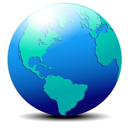 North, South America, Europe, Africa Global World Vector