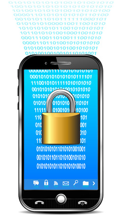 unlocking: Phone with Security System - Lock Data  Illustration