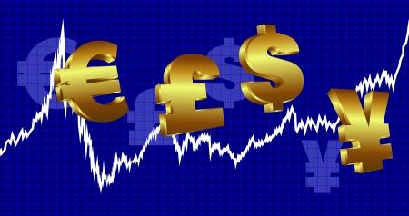 libra esterlina: Gráfico de la bolsa con los símbolos de moneda en un fondo azul
