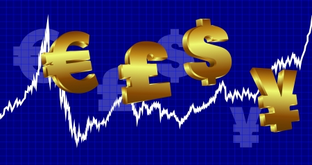 currency symbols: Stock Market Graph with currency symbols on a blue background
