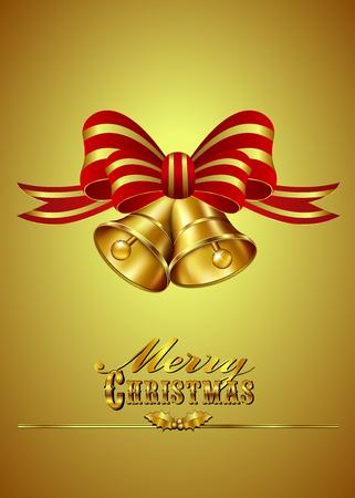 christmas: Altın zemin üzerine Bells ile Noel Kart