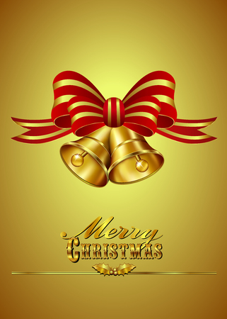 Christmas Card with Bells on Gold background Vector
