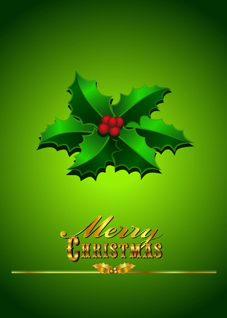 Christmas Card with Holly on a Green Background Vector