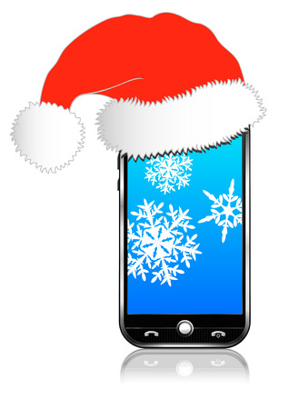 Phone with Santa Hat on with Snow Flakes Vector