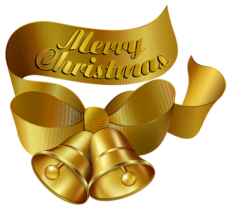 Gold Ornate Merry Christmas Bells with Ribbon Stock Vector - 22709619